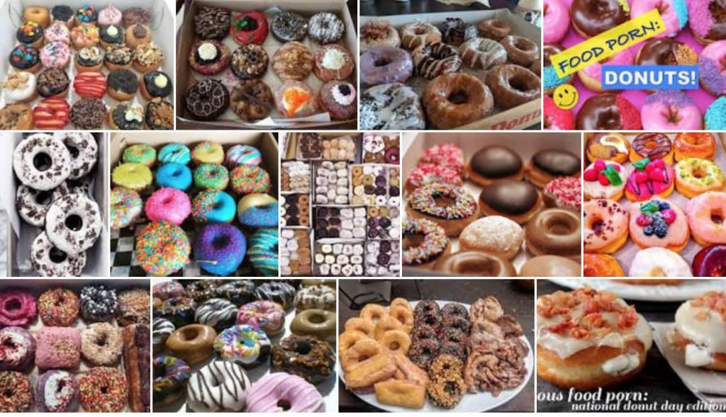 Mosaic of donut images